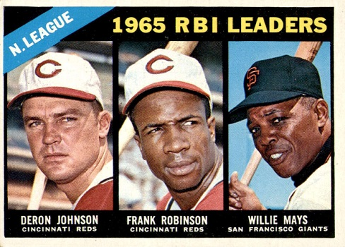 1966 Topps NL RBI Leaders - Deron Johnson, Frank Robinson, Willie Mays