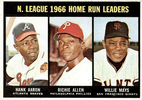 1967 Topps NL Home Run Leaders - Hank Aaron, Richie Allen, Willie Mays