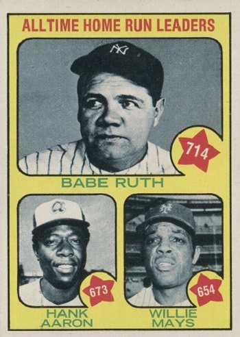 1973 Topps All-Time Home Run Leaders - Babe Ruth, Hank Aaron, Willie Mays
