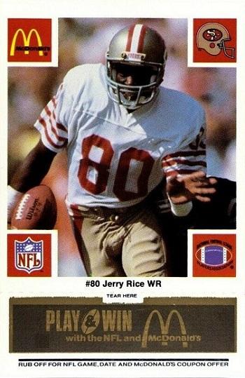 1986 McDonald's 49ers Jerry Rice - Black Tab