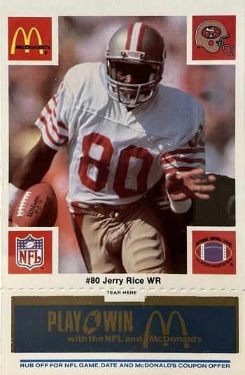 1987 McDonald's 49ers Jerry Rice - Blue Tab