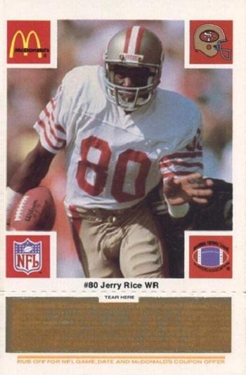 1989 McDonald's 49ers Jerry Rice - Orange Tab